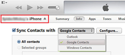Export Contacts from iPhone to Gmail
