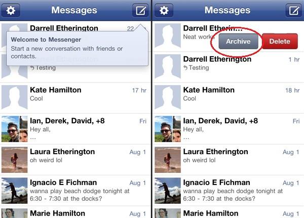 Delete archived conversation facebook messenger